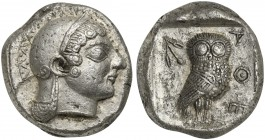 Attica, Athens, Tetradrachm, ca. 500-480 BC; AR (g 16,98; mm 22; h 6); Head of Athena r., wearing crested helmet decorated with chevron and dot patter...