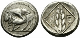 Cilicia, Tarsos, Stater, ca. 420-410 BC; AR (g 11,04; mm 21; h 8); Lion r., attacking bull kneeling l., Rv. Grain ear; on l., little tree; on r. 'TRZ'...