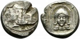 Cyprus, Lapethos, Stater, ca. 435 BC; AR (g 10,86; mm 20; h 2); Head of Athena l., wearing crested Corinthian helmet, Rv. Head of Athena facing, weari...
