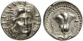 Islands of Caria, Rhodes, Tetradrachm struck under magistrate Eukrates, ca. 229-205 BC; AR (g 13,36; mm 25; h 12); Radiate head of Helios facing sligh...