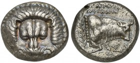 Island of Ionia, Samos, Tetradrachm, ca. 408-366 BC; AR (g 14,78; mm 22; h 6); Facing lion scalp, Rv. Forepart of bull r.; above, EΠIKPATHΣ / AXEΛΩIO ...