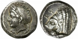 Mysia, Kyzikos, Tetradrachm, ca. 390-340 BC; AR (g 15,15; mm 22; h 12); SΩTEIRA, head of Kore Soteira l., hair in sphendone covered with a veil, two g...