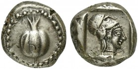 Pamphylia, Side, Stater, ca. 460-430 BC; AR (g 10,98; mm 19; h 3); Pomegranate within dot border, Rv. Head of Athena r., wearing raised Corinthian hel...