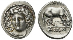 Thessaly, Larissa, Drachm, ca. 356-342 BC; AR (g 6,17; mm 20; h 6); Head of the nymph Larissa facing slightly l., with hair in ampyx, Rv. ΛΑΡΙΣ - ΑΙΩΝ...