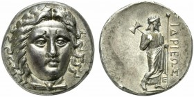 Satraps of Caria, Tetradrachm struck under Hidrieus, ca. 351-344 BC; AR (g 15,24; mm 24; h 1); Wreathed and draped head of Apollo facing slightly r., ...