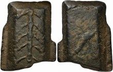 'Ramo secco' ingot, Central Italy, 5th to 4th centuries BC; AE (g 885; mm 95x76x24); Herringbone pattern, Rv. Dolphin. Garrucci p. 8, pls. 12,1-2 and ...