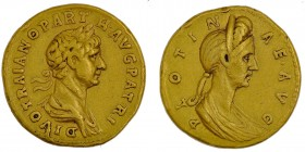 Roman Empire. Trajan 98 – 117. AU Aureus (19mm, 7.06g, 6h). Struck 117-118. DIVO TRAIANO PARTH·AVG PATRI, laureate and draped bust of Trajan right / P...
