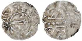 Czech Republic. Bohemia. Boleslav II. 967-999. AR Denar (17mm, 1.08g). Prague mint. [+EOLEI]VAL, sword, arrowhead/foot(?) below / […] ᛫᛫Ǝ ᘐΛ [...], te...