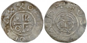 Czech Republic. Bohemia. Boleslav II 967 - 999. AR Denar II (19mm, 1.42g). Prague mint. OEZTODVΛXX (?), cross with three pellets in one angle, arrowhe...