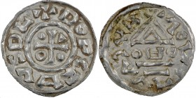 Czech Republic. Bohemia. Boleslav III 999 – 1002/3. AR Denar II (19mm, 1.08g). Prague mint. +BΛCVΛVIΛOL (?), temple across OㅂO / DOPCZㅂVDL, cross with...
