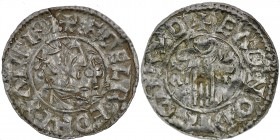 England. Aethelred II. 978-1016. AR Penny (20mm, 1.18 g, 9h). Second hand type (BMC iid, Hild. B2). Bridport mint; moneyer Eadnoth. Struck circa 985-9...