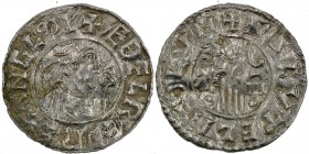 England. Aethelred II. 978-1016. AR Penny (20mm, 1.20 g, 9h). Second hand type (BMC iid, Hild. B2). London mint; moneyer Asketill. Struck circa 985-99...