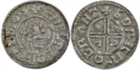 England. Aethelred II. 978-1016. AR Penny (21mm, 1.43 g, 3h). Crux type (BMC iiia, Hild. C). Cambridge mint; moneyer Eadric. Struck circa 991-997. + Æ...