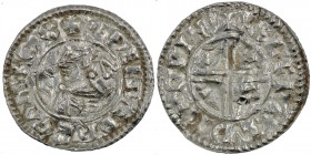 England. Aethelred II. 978-1016. AR Penny (21mm, 1.67 g, 9h). Intermediate Small Cross / Crux mule type (BMC iii, Hild Cb). Winchester mint; moneyer Æ...