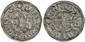 England. Aethelred II. 978-1016. AR Penny (21mm, 1.63 g, 6h). Intermediate Small Cross / Crux mule type (BMC iii, Hild Cb). Winchester mint; moneyer B...
