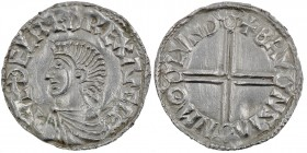 England. Aethelred II. 978-1016. AR Penny (19mm, 1.69 g, 7h). Long Cross type (BMC IVa, Hild. D). London mint; moneyer Brunstan. Struck circa 997-1003...