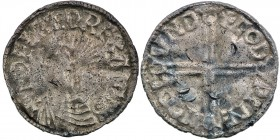England. Aethelred II. 978-1016. AR Penny (19mm, 1.54 g, 12h). Long Cross type (BMC IVa, Hild. D). London mint; moneyer Godwine. Struck circa 997-1003...