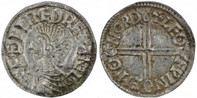 England. Aethelred II. 978-1016. AR Penny (20mm, 1.80 g, 7h). Long Cross type (BMC IVa, Hild. D). Norwich mint; moneyer Leofwine. Struck circa 997-100...