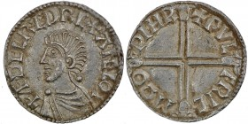 England. Aethelred II. 978-1016. AR Penny (20mm, 1.77 g, 4h). Long Cross type (BMC IVa, Hild. D). Worcester mint; moneyer Wulfric. Struck circa 997-10...