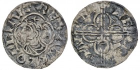England. Cnut the Great. 1016-1035. AR Penny (17.5mm, 0.81 g, 3h). Quatrefoil type (BMC viii, Hild. E). Colchester mint; moneyer Wulfwine. Struck circ...