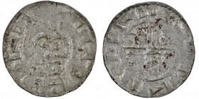 Denmark. Harthacnut 1035-1042. AR Penning (15mm, 0.74g). Viborg mint. Struck circa 1040. Blundered legend, standing figure facing, possible wearing a ...