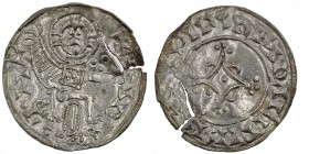 Denmark. Svend Estridsen. 1047-1075. AR penning (16mm, 0.57g). Hedeby mint. +H- +(?)IR, Christ seated facing, raising hand in benediction and holding ...