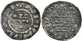 Germany. Duchy of Bavaria. Heinrich II 985-995. AR Denar (20.5mm, 1.57g). Regensburg mint; moneyer IVAO(?). Cross with one pellet in two angles and on...