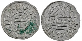 Germany. Duchy of Bavaria. Heinrich IV (II) 1002-1009. AR Denar (19mm, 1.17g). Regensburg mint; moneyer ⵎcco. +HIꓞHICVSCVX (retrograde), cross with th...