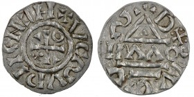 Germany. Duchy of Bavaria. Heinrich IV (II) 1002-1009. AR Obol (14mm, 0.53g). Regensburg mint; moneyer ΛΛO. +HⵎNↃII⫏ΛလΛ, cross with three pellets in o...