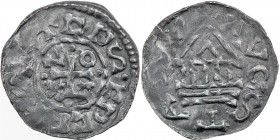 Germany. Duchy of Bavaria. Konrad II and Heinrich III 1027-1029. AR Denar (20mm, 1.09g). Regensburg mint. Cross with one pellet at each end, in angles...