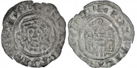 Germany. Duchy of Bavaria. Henry IV 1056-65. AR Denar (19mm, 0.45g). Regensburg mint. Crowned bust facing / Church façade, two domed side towers. Hahn...