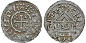 Germany. Duchy of Bavaria. Heinrich IV (II) 1002-1009. AR Denar (20mm, 1.57g). Cham mint; moneyer Hecil. +HENRICVSREX, cross with three pellets in one...
