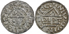Germany. Duchy of Bavaria. Heinrich IV (II) 1002-1009. AR Denar (21mm, 1.34g). Neuburg mint; moneyer Diot. +HENRICVSDVX, cross with pellet in two angl...