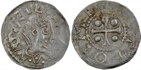 Germany. Otto III. 983-1002. AR Denar (18mm, 1.13g). Würzburg mint. S KILIA[NV], Bust of St. Kilian right/[+] OTTO IM P[E], cross with pellet in each ...
