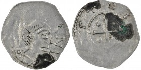 Germany. Otto III. 983-1002. AR Denar (18mm, 1.18g). Würzburg mint. [ S KILIA]NV, Bust of St. Kilian right/[+ O]TTO I[M PE], cross with pellet in each...