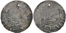 Germany. Halberstadt. Burkhard I. of Vohburg 1036-1059. AR Denar (20mm, 1.39g). Halberstadt mint. Tonsured head right with cross-staff / Church with t...