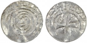 Germany. Archdiocese of Magdeburg. Anonymous c. 1040. AR Denar (17mm, 1.18g). Gittelde mint. Head of saint / Cross, in angles crosier(?) and possible ...