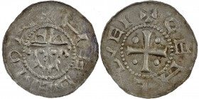 Germany. Duchy of Saxony. Hermann 1059-1086. AR Denar (19mm, 0.65g, 6h). Jever mint. +HERMON, crowned head facing / GEHEREI, legends, cross with pelle...