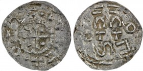 Germany. Duchy of Swabia. Esslingen Otto I - Otto III 936 - 1002. AR Denar (20mm, 0.93g) Cross with pellet in each angle / OTTO, cross written IIC ⊓ a...