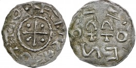 Germany. Duchy of Swabia. Esslingen Otto I - Otto III 936 - 1002. AR Denar (19mm, 0.99g) OTTO [..]+, cross with pellet in each angle / OTTO, cross wri...