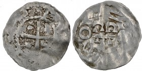 Germany. Duchy of Swabia. Esslingen Otto I - Otto III 936 - 1002. AR Obol (15mm, 0.47g) Cross with pellet in each angle / OTTO, cross written IIC ⊓ an...