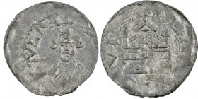 Germany. Diocese of Speyer. Konrad I 1056-1060. AR Denar (19mm, 1.06g). Speyer mint. CVNRAD[VS [EPS], bust facing / [...]VIT [...], church with two to...