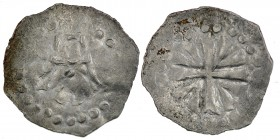 Germany. Archdiocese Trier. Poppo of Babenberg 1016-1047 with Heinrich III. AR Denar (16mm, 0.70g). Letter A in center of dotted circle / Cross with V...
