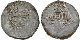 Diocese of Metz. Theodoric II. 1004-1046. AR Denar (23mm, 1.45g). +DEO[DERICVSEPS ?], cross with pellet in each angle / +D[…], temple on columns, E in...