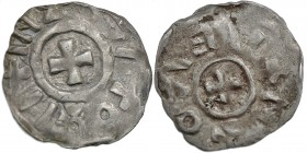Italy. Verona, Otto I 962-973. AR Denar (14mm, 0.70g). Verona mint. IMPERATOR(?), cross pattee / VERONA (retrograde), cross pattee. Biaggi 2954 var. R...