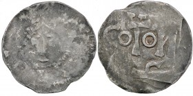 The Netherlands. Area around Tiel. Ca 1050s. AR Denar (18mm, 1.17g). Uncertain mint. Crowned bust facing / Cologne monogram retrograde. Ilisch 5.3(?)....
