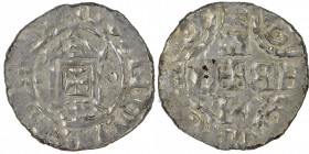 The Netherlands. Counts of Holland. Dirk IV 1039–1049. AR Denar (17mm, 0.48g). Rijnsburg mint. RINEVT[?], Carolingian temple facade on arc with cross ...