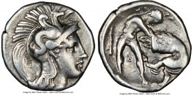 CALABRIA. Tarentum. Ca. 380-280 BC. AR diobol (12mm, 4h). NGC Choice VF. Ca. 325-280 BC. Head of Athena right, wearing crested Attic helmet decorated ...