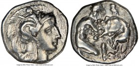 CALABRIA. Tarentum. Ca. 380-280 BC. AR diobol (12mm, 6h). NGC Choice VF. Ca. 325-280 BC. Head of Athena right, wearing crested Attic helmet decorated ...