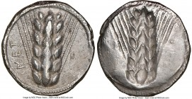 LUCANIA. Metapontum. Ca. 510-470 BC. AR stater (22mm, 11h). NGC Choice VF, edge smoothing. MET, six-grained barley ear; guilloche border on raised rim...